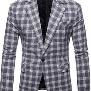 Mens Plaids Suit Blazer Slim Fit One Button